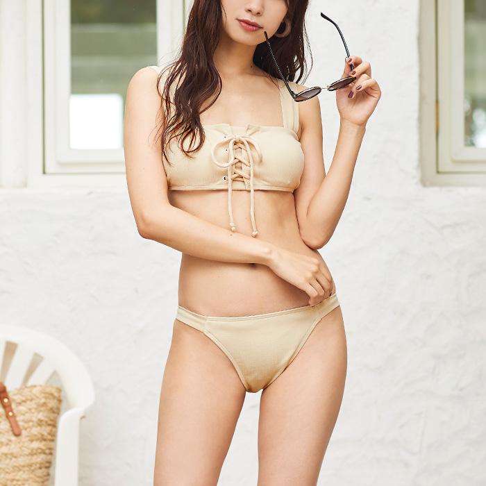フロントレースアップショートタンキニ/水着【メール便可/100】
