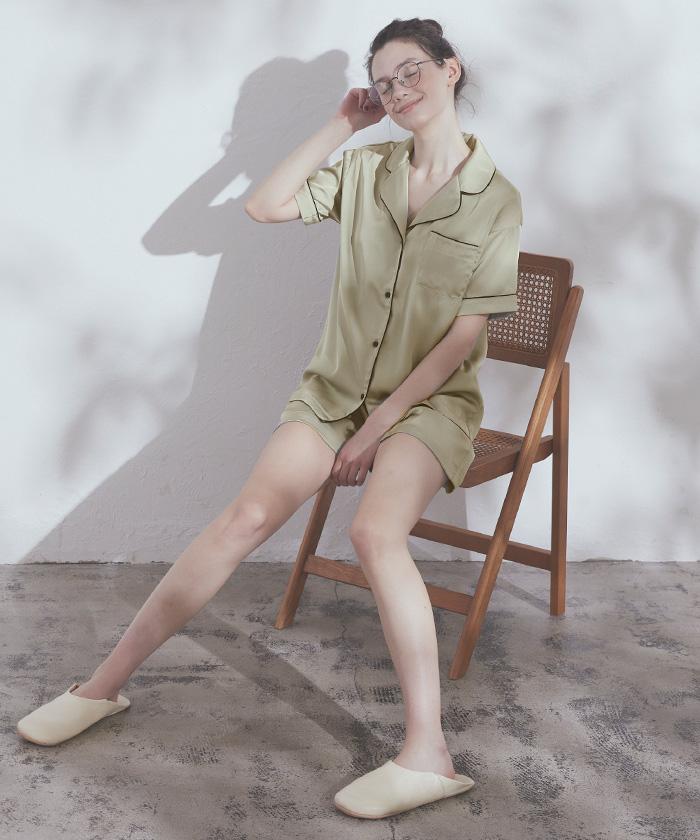 半袖サテンナイトウェア/パジャマ2点セット